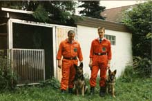 "My dad and his dog ""Anka"" and me and my first dog ""Wolf"""